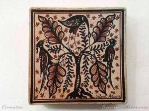 Regalo Socarrat valenciano con la imagen de unaos pájaros encima de un árbol