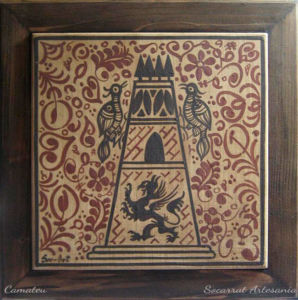 Socarrat con la imagen de la Torre de Paterna