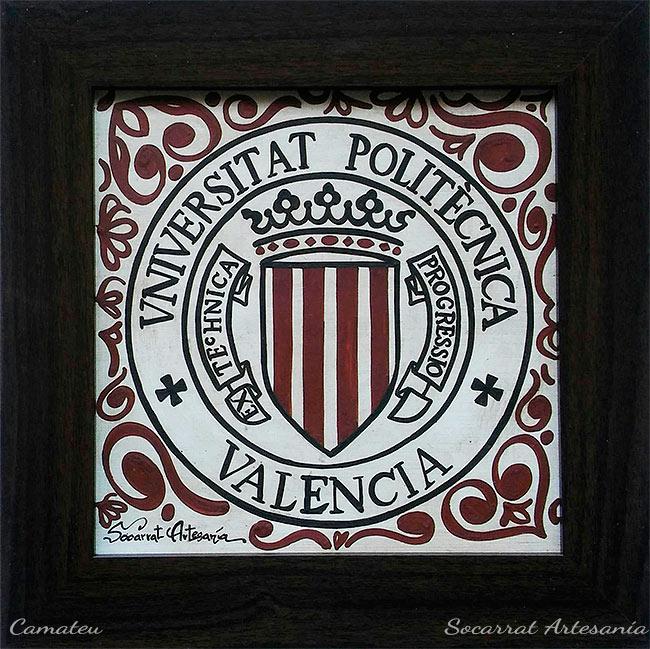 Socarrat con el Escudo de la Universidad Politécnica de Valencia. Regalos Institucionales y Personalizados