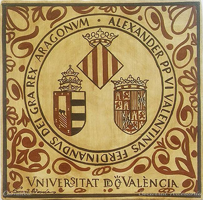 Socarrat escudo de la Universidad de Valencia