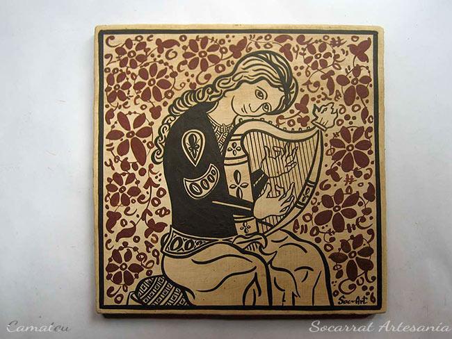 Socarrat Regalo para Músicos con la imagen de una arpista al estilo Socarrat