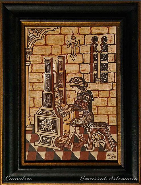 Socarrat Regalo para Músicos con la imagen de un organista, pianista al estilo Socarrat