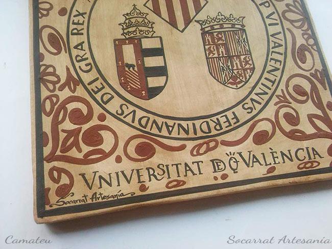 Socarrat Artesanía. Escudo de la Universidad de Valencia. Identidad, Tradición y Cultura en un mismo concepto