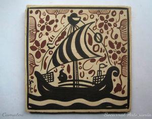 Regalo Socarrat Artesanía barco con marinero navegando