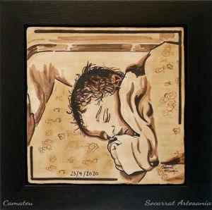 Socarrat artesanía. Retrato personalizado de un bebe realizado con la técnica del socarrat