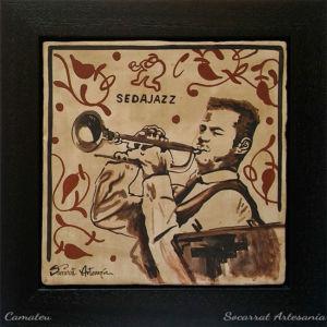 Socarrat Artesanía. Retrato personalizado de un trompetista de jazz. Sedajazz. Realizado con la técnica del socarrat