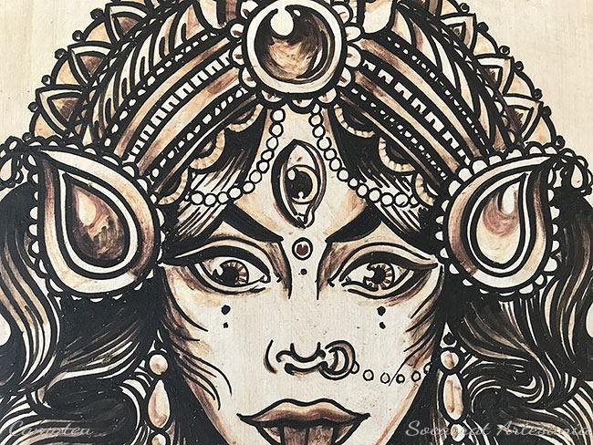 Diosa Kali cuadro cerámica detalle