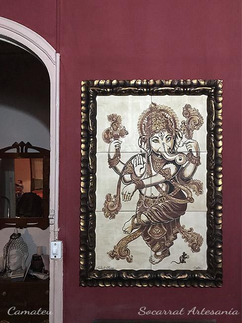 Ganesha mural cerámica in situ