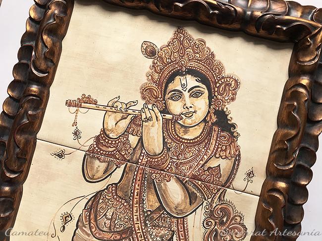 krishna como pastor de vacas tocando la flauta. Detalle